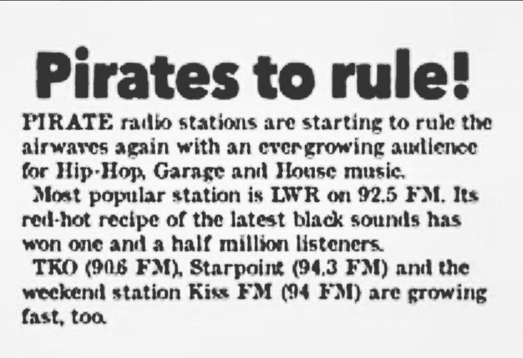 LWR Vintage - Newspaper Clip - Pirates To Rule