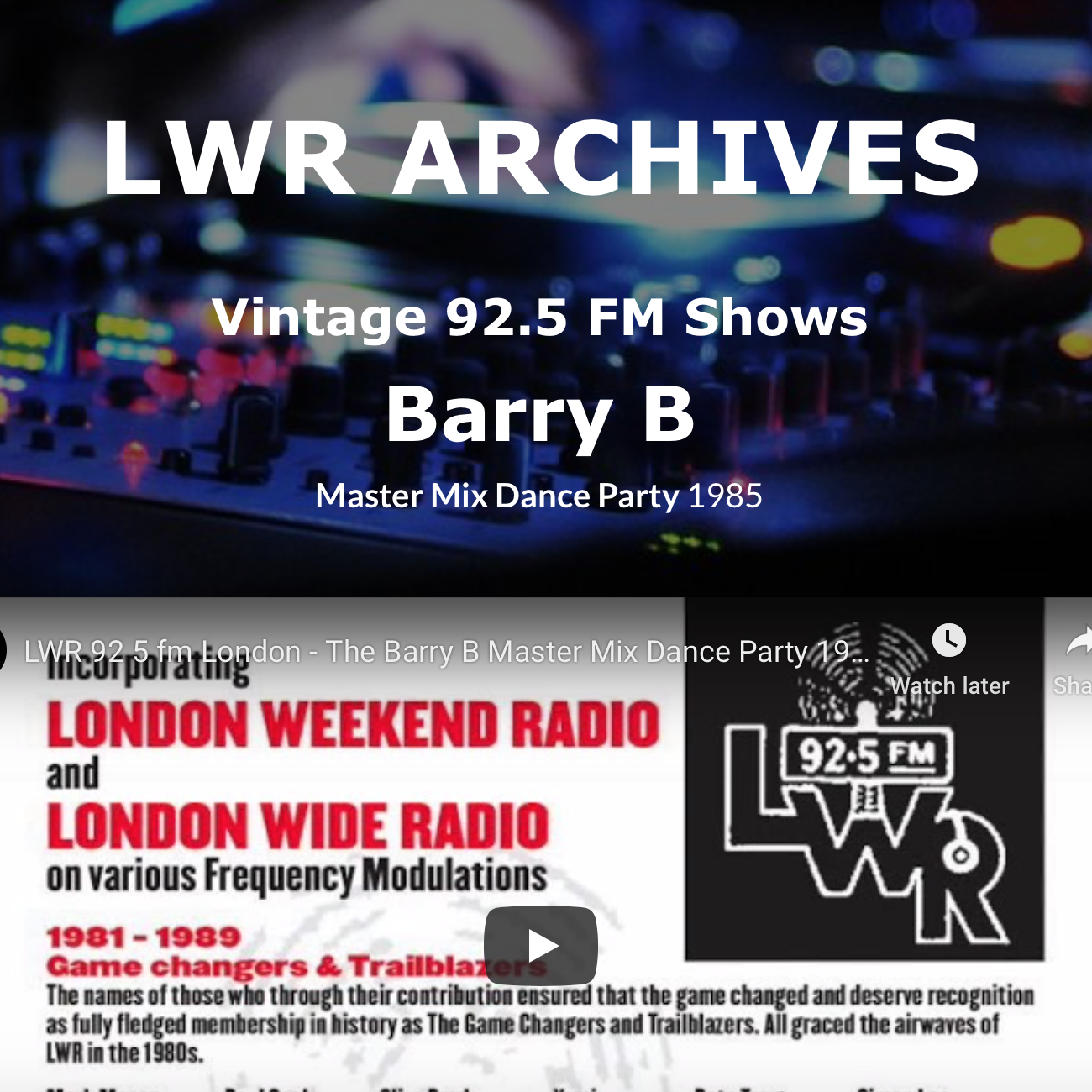 LWR-Vintage-Shows - Barry B Master Mix Dance Party 1985