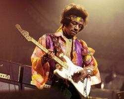 UNITED KINGDOM - FEBRUARY 24:  ROYAL ALBERT HALL  Photo of Jimi HENDRIX, performing live onstage, playing white Fender Stratocaster guitar  (Photo by David Redfern/Redferns)